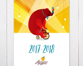 Jewish Calendar 2017-2018, Hebrew Calendar 2017-2018, Jewish planner, לוח שנה עברי מאוייר 2017-2018, Israel Calendar 2017-18, לוח שנה