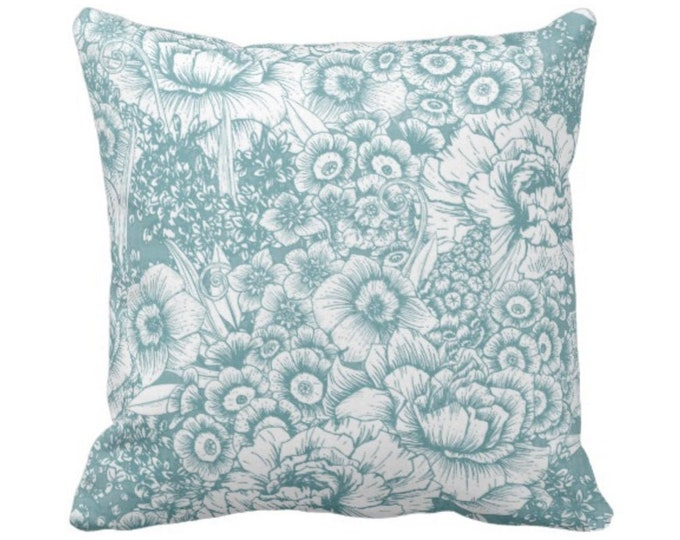 """Retro Floral Throw Pillow or Cover, Soft Teal/White 14, 16, 18, 20 or 26"""" Square Pillows or Covers, Dusty Aqua/Blue/Green, Vintage Nature"""