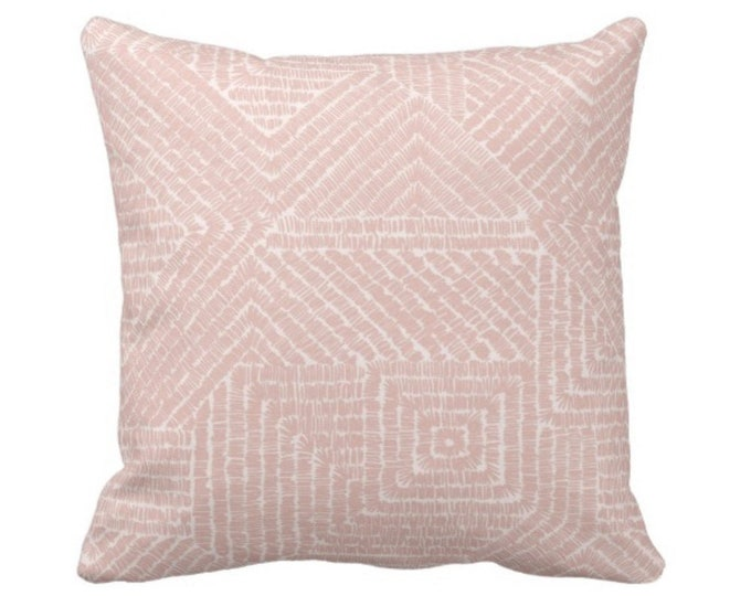 "Tribal Geo Throw Pillow or Cover, Dusty Rose 16, 18, 20 or 26"" Sq Pillows or Covers, Blush Pink Geometric/Tribal/Batik/Geo/Boho/Diamond"