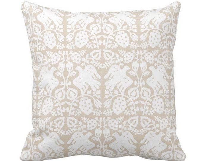 "OUTDOOR Block Print Bird Floral Throw Pillow or Cover, Sand 14, 16, 18, 20, 26"" Sq Pillows/Covers Beige Blockprint/Boho/Tribal/Batik Print"