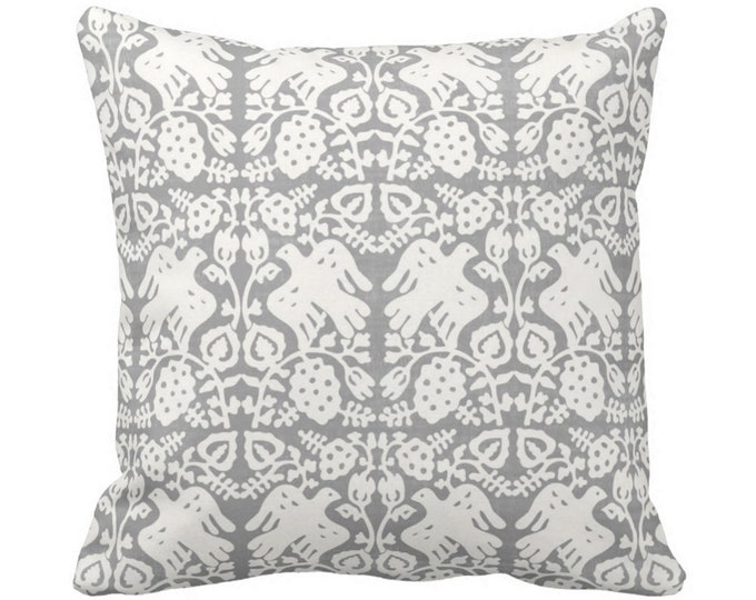 "Block Print Bird Floral Throw Pillow or Cover, Gray 14, 16, 18, 20, 26"" Sq Pillows or Covers, Blockprint/Boho/Floral/Animal/Print"