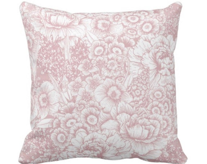 """OUTDOOR Retro Floral Throw Pillow or Cover, Pink & White 14, 16, 18, 20, 26"""" Square Pillows or Covers, Dusty Rose/Blush/Millenial"""