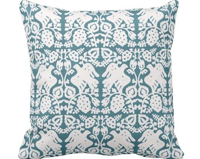 "Block Print Bird Floral Throw Pillow or Cover, Teal 14, 16, 18, 20, 26"" Sq Pillows or Covers, Jewel Blue/Green Blockprint/Boho Print"