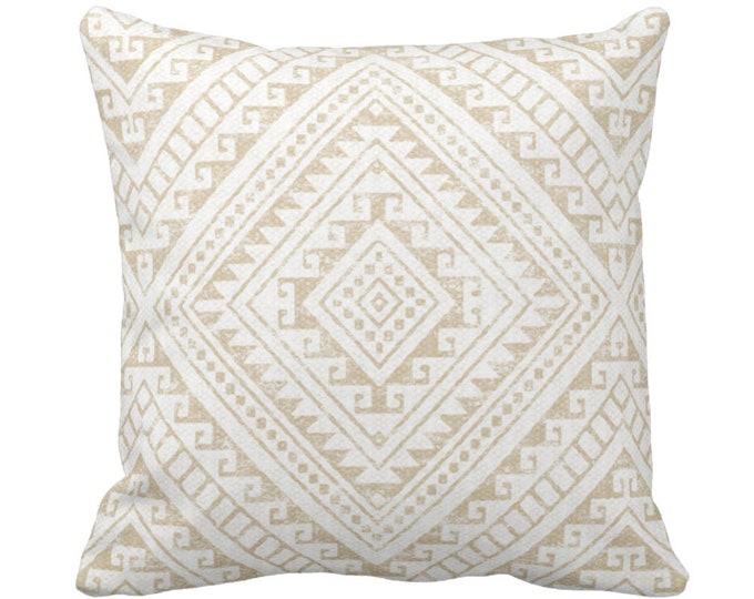 "OUTDOOR Diamond Geo Throw Pillow or Cover, Sand 14, 16, 18, 20, 26"" Sq Pillows/Covers, Beige/Flax Geometric/Tribal/Batik/Geo/Boho/Medallion"