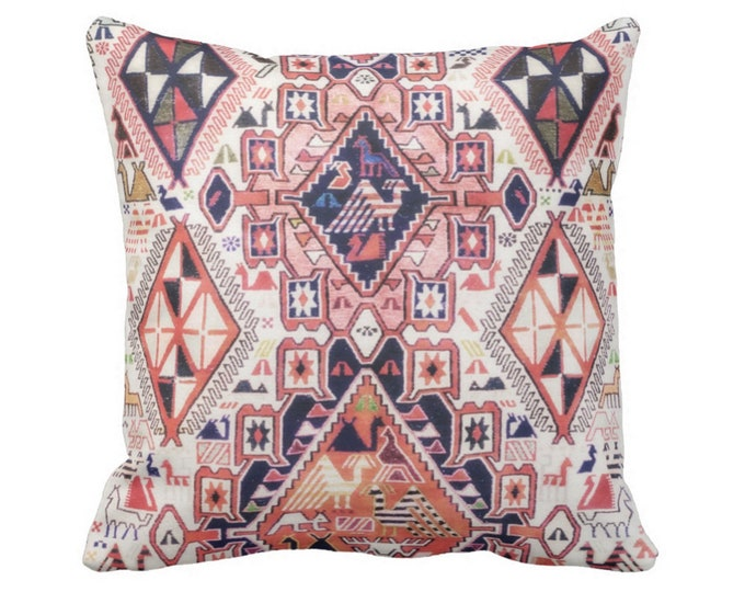 "OUTDOOR Tribal Geo Print w/ Birds Pillow or Cover Sq 14, 16, 18, 20"" Throw Covers/Pillows Pink Orange, Red Geometric/Boho/Bohemian/Diamonds"