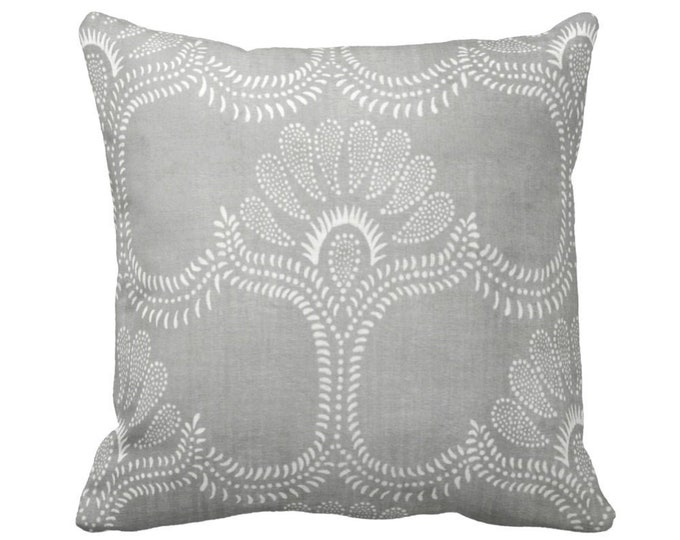 """Lotus Batik PRINTED Throw Pillow or Cover, Gray 14, 16, 18, 20 or 26"""" Square Covers or Pillows, Vintage Hmong/Chinese Grey Textile Print"""