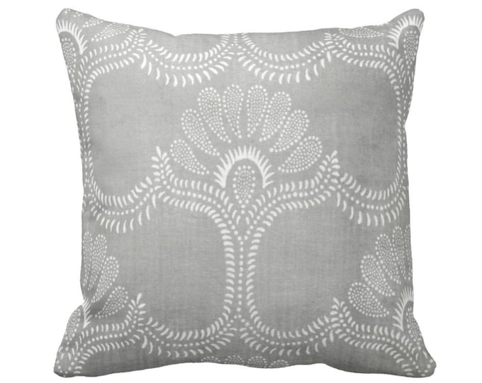 """Lotus Batik Printed Throw Pillow or Cover, Gray 16, 18, 20 or 26"""" Square Covers or Pillows, Print, Vintage Chinese Grey Textile"""