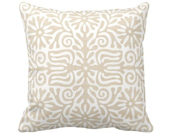 """OUTDOOR Folk Floral Throw Pillow or Cover, Sand 14, 16, 18, 20, 26"""" Sq Pillows/Covers, Beige/Flax/White Tribal/Batik/Geo/Boho/Abstract Print"""