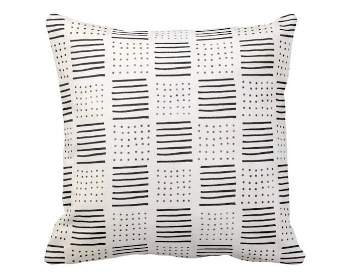 "SALE/READY 2 SHIP Mud Cloth Print Throw Pillow Cover, Lines/Dots Off-White/Black 16"" Sq Pillow Covers, Mudcloth/Geo/Boho/Tribal/Geometric"