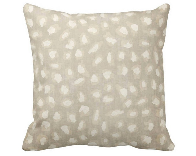 """Subtle Animal Spots Throw Pillow or Cover, Beige/Ivory 14, 16, 18, 20 or 26"""" Sq Pillows or Covers, Cat/Leopard/Spot/Print/Pattern"""