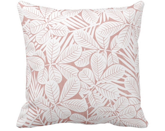 """Modern Leaves Throw Pillow or Cover Pink/White Print 14, 16, 18, 20 or 26"""" Sq Pillows or Covers Millenial/Dusty Retro Tropical Print"""