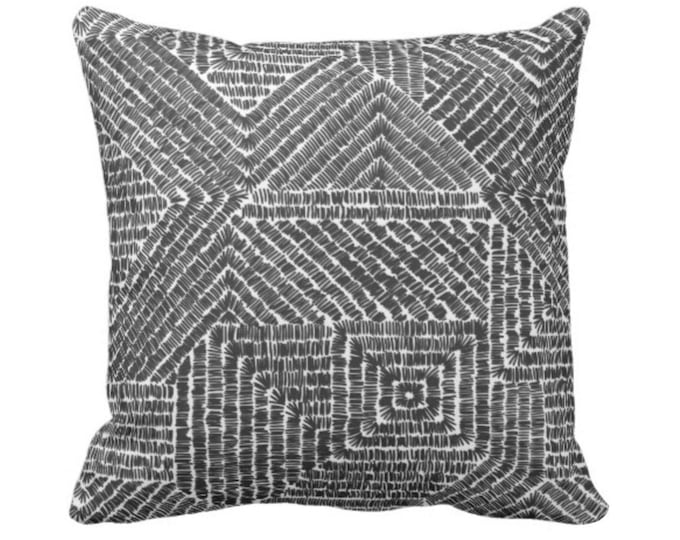 "OUTDOOR Tribal Geo Throw Pillow or Cover, Black/White 14, 16, 18, 20 or 26"" Sq Pillows/Covers, Scratch Geometric/Batik/Geo/Boho/Diamond"