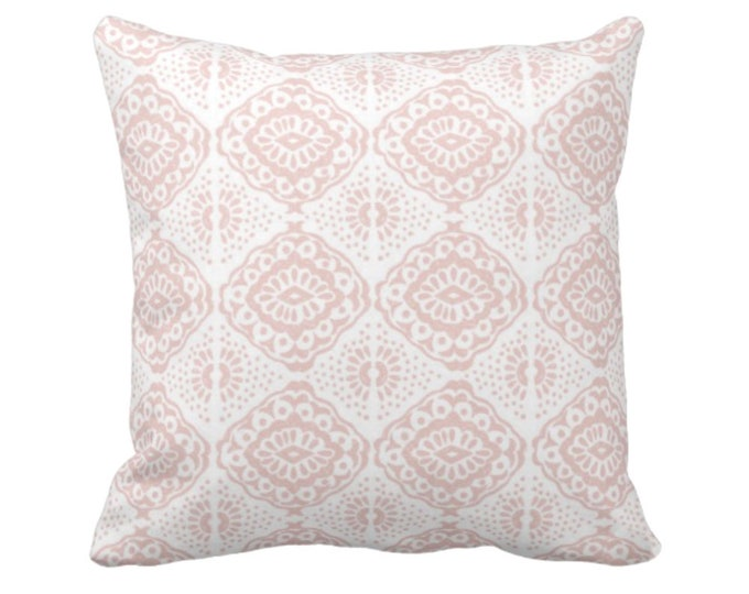 "Block Print Medallion Throw Pillow or Cover, Pink/White 16, 18, 20 or 26"" Sq Pillows or Covers, Pale/Blush Geometric/Tribal/Batik/Geo/Boho"