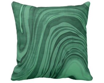 """Marbled Print Pillow or Cover, Emerald 14, 16, 18, 20 or 26"""" Square Pillows or Covers Deep/Jewel Tone Green Marble/Swirl/Lines/Waves"""