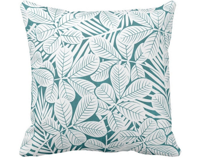 """Modern Leaves Throw Pillow or Cover Teal/White Print 14, 16, 18, 20 or 26"""" Sq Pillows or Covers Blue/Green Retro Tropical Print"""