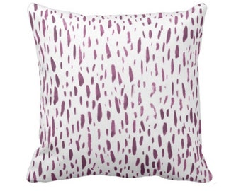"OUTDOOR - READY 2 SHIP Hand-Painted Dashes Throw Pillow or Cover, Plum/White 20"" Sq Pillows/Covers, Purple Abstract/Modern/Splatter Print"