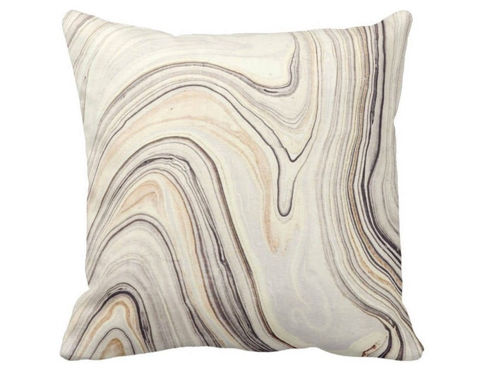 "OUTDOOR Marble Print Throw Pillow or Cover, Taupe/Beige 14, 16, 18, 20, 26"" Sq Pillows/Covers, Gray/Off-White Marbled/Abstract/Modern/Lines"