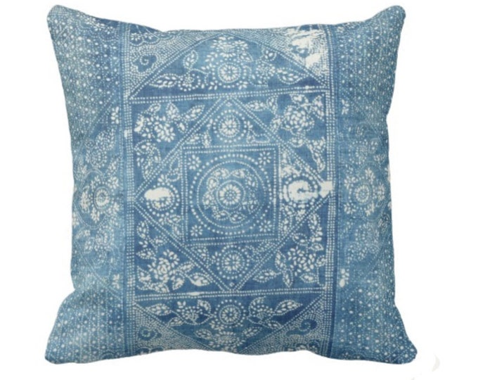 """OUTDOOR Batik Printed Throw Pillow or Cover, Indigo 14, 16, 18, 20, 26"""" Square Pillows or Covers, Blue Vintage Chinese Textile Print"""