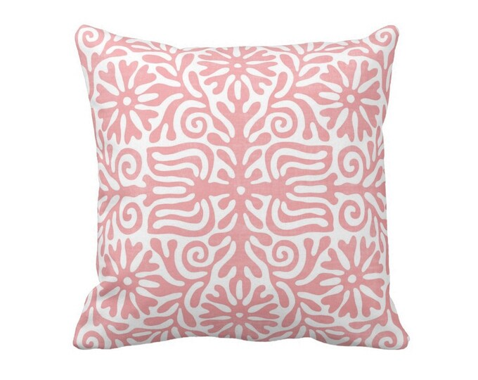 "Folk Floral Throw Pillow or Cover, Light Pink/White 16, 18, 20 or 26"" Sq Pillows or Covers, Pastel Mexican/Boho/Bohemian/Tribal"
