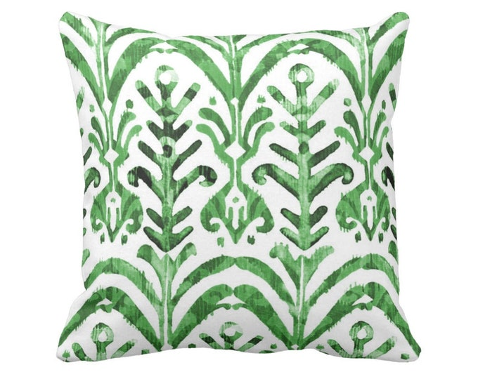 "Watercolor Print Throw Pillow or Cover, Emerald & White 16, 18, 20 or 26"" Square Pillows/Covers, Hand-Dyed Effect, Bright/Deep Green"