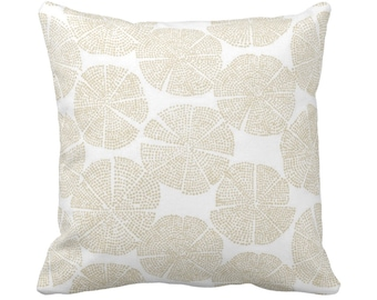"OUTDOOR Blockprint Floral Throw Pillow or Cover, Sand/White 14, 16, 18, 20, 26"" Sq Pillows/Covers Beige Block/Batik/Boho/Geometric Print"