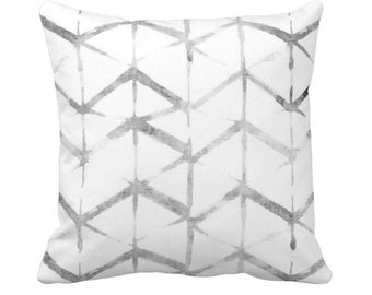 "Shadow Geo Print Throw Pillow or Cover, Gray/White 14, 16, 18, 20 or 26"" Sq Pillows or Covers, Chevron/Stripes/Geometric/Art Print"