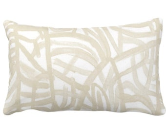 """Avant Print Throw Pillow or Cover, White/Cream 14 x 20"""" Lumbar Pillows/Covers Painted Ivory/Off-White Abstract/Geometric/Modern/Lines/Geo"""