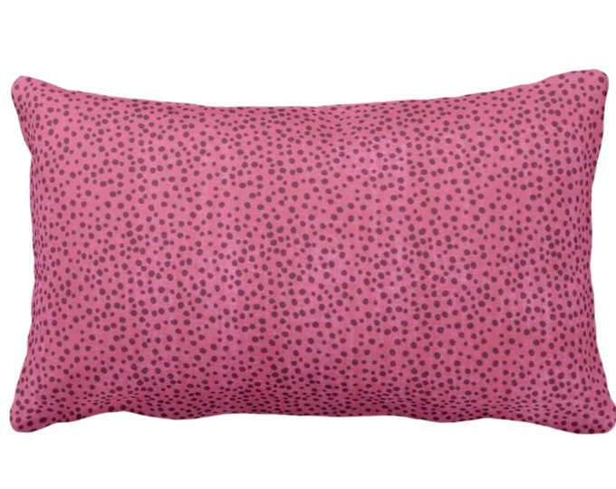 "Confetti Dots Throw Pillow or Cover, Magenta Print 14 x 20"" Lumbar Pillows or Covers, Bright/Dark Pink Scatter Dot/Modern/Abstract/Allover"