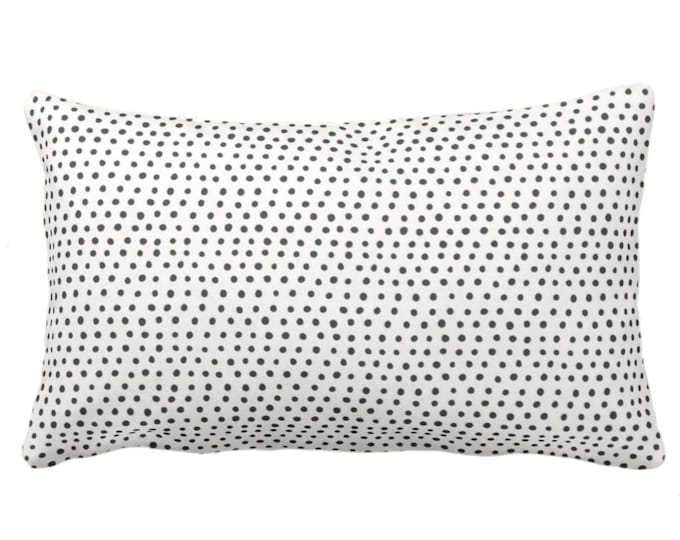 "Allover Dots Throw Pillow or Cover, Black & Ivory Print 14 x 20"" Lumbar Pillows or Covers, Black/Grey/Gray/Off-White Scatter Dot/Geometric"