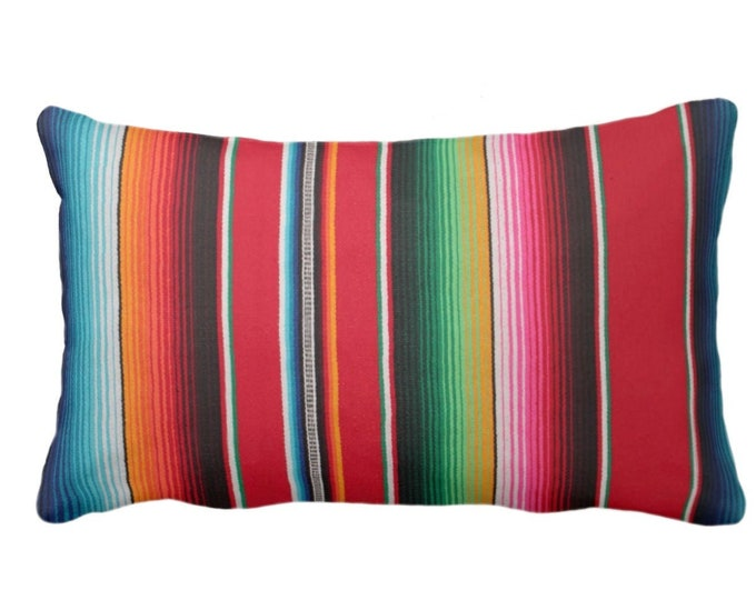 """Serape Stripe Throw Pillow or Cover, Printed Mexican Blanket 14 x 20"""" Lumbar Pillows or Covers, Rainbow/Colorful/Stripes/Striped"""