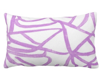 """Abstract Print Throw Pillow or Cover, White/Orchid 14 x 20"""" Lumbar Pillows/Covers Painted Bright Purple Abstract/Geometric/Modern/Lines"""