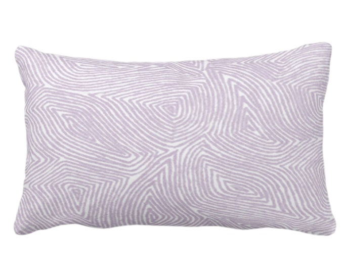 """Sulcata Geo Throw Pillow or Cover, Dusty Purple & White 14 x 20"""" Lumbar Pillows/Covers Abstract Geometric/Wavy/Lines/Tribal Pattern/Print"""