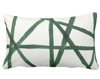"""Hand-Painted Lines Throw Pillow or Cover, Kale/White 14 x 20"""" Lumbar Pillows or Covers Abstract/Channels/Stripes Green Print"""