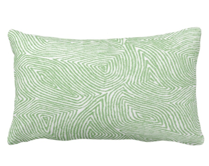 """OUTDOOR Sulcata Geo Throw Pillow/Cover, Cactus Green & White 14 x 20"""" Lumbar Pillows/Covers, Abstract Geometric/Lines/Waves Print/Pattern"""