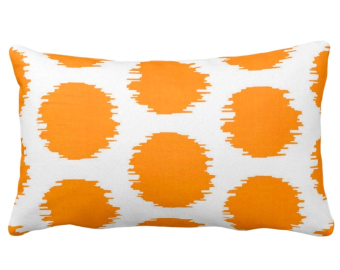 "Ikat Dot Throw Pillow or Cover, Orange/White 14 x 20"" Lumbar Pillows or Covers, Mellon Scribble/Dots/Spots/Spot/Circles/Polka Print/Pattern"