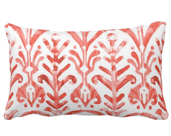 """Watercolor Print Throw Pillow or Cover, Coral/White 14 x 20"""" Lumbar Pillows or Covers, Red/Orange/Pink, Ikat/Tribal/Boho Print"""