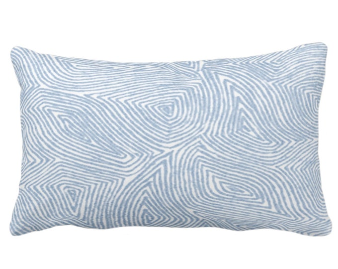 """OUTDOOR Sulcata Geo Throw Pillow or Cover, Sky Blue & White 14 x 20"""" Lumbar Pillows/Covers, Abstract Geometric/Lines/Waves Print/Pattern"""
