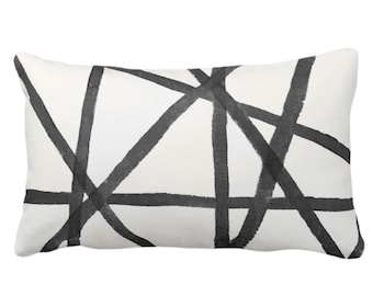 "READY 2 SHIP Hand-Painted Lines Throw Pillow/Cover, Charcoal/White 14 x 20"" Lumbar Pillows/Covers Black/Gray Stripe/Striped/Channels Print"