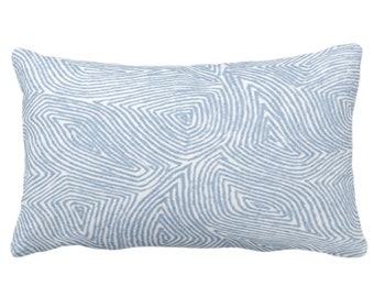 """Sulcata Geo Throw Pillow or Cover, Sky Blue & White 14 x 20"""" Lumbar Pillows/Covers, Abstract Geometric/Boho/Wavy/Lines/Tribal Pattern/Print"""