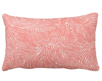 """Sulcata Geo Throw Pillow or Cover, Living Coral & White 14 x 20"""" Lumbar Pillows/Covers Abstract Geometric/Boho/Lines/Tribal Pattern/Print"""