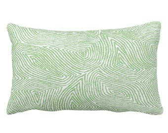 """Sulcata Geo Throw Pillow or Cover, Cactus Green & White 14 x 20"""" Lumbar Pillows/Covers Abstract Geometric/Wavy/Lines/Tribal Pattern/Print"""