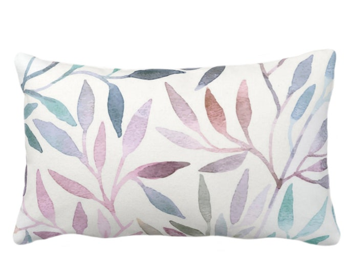 """OUTDOOR Watercolor Stems Throw Pillow/Cover, Multi-Colored Pastels Organic Pattern 14x20"""" Lumbar Pillows/Covers, Purple/Pink/Blue/Aqua/Green"""