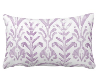 "OUTDOOR Watercolor Print Throw Pillow or Cover, Lavender/White 14 x 20"" Lumbar Pillows or Covers, Light Purple, Ikat/Boho Hand Painted Print"