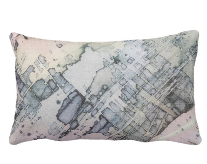 """OUTDOOR Abstract Watercolor Throw Pillow/Cover, Multi-Colored Pastels Organic Pattern 14x20"""" Lumbar Pillows/Covers, Purple/Pink/Blue/Green"""