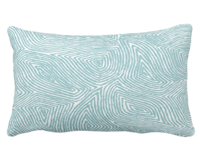 """Sulcata Geo Throw Pillow or Cover, Aqua & White 14 x 20"""" Lumbar Pillows/Covers Blue/Green Abstract Geometric/Wavy/Lines/Tribal Pattern/Print"""