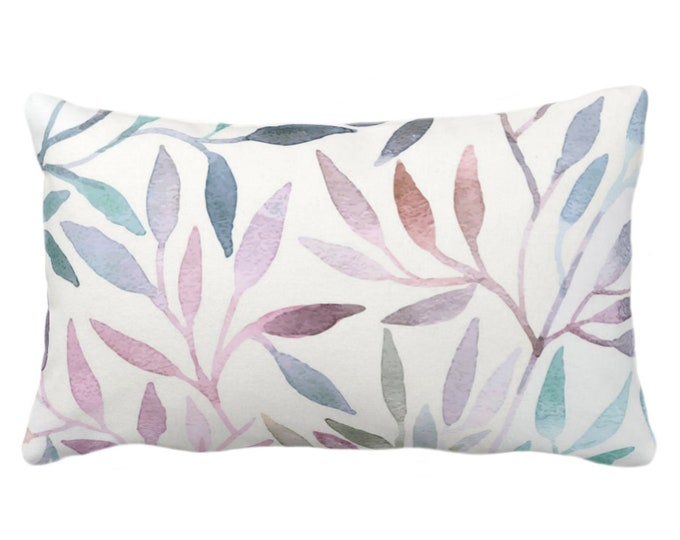 """Watercolor Stems Throw Pillow or Cover, Multi-Colored Pastels Organic Pattern 14x20"""" Lumbar Pillows/Covers, Purple/Pink/Blue/Aqua/Rust/Green"""