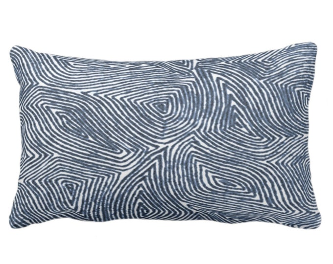 """Sulcata Geo Throw Pillow or Cover, Navy & White 14 x 20"""" Lumbar Pillows/Covers Dark Blue Abstract Geometric/Wavy/Lines/Tribal Pattern/Print"""