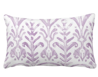 """Watercolor Print Throw Pillow or Cover, Lavender/White 14 x 20"""" Lumbar Pillows or Covers, Light Purple Ikat/Boho Print/Design Hand Painted"""