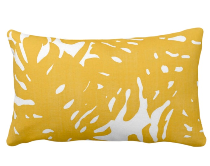 """OUTDOOR - READY 2 SHIP Palm Silhouette Throw Pillow Cover Golden/White Print 14 x 20"""" Lumbar Covers Bright Yellow Tropical/Modern/Leaves"""