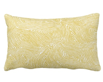 """Sulcata Geo Throw Pillow or Cover, Citron Yellow & White 14 x 20"""" Lumbar Pillows/Covers Abstract Geometric/Wavy/Lines/Tribal Pattern/Print"""